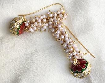 Pearl Earrings, Meenakari Earrings, Red and Green Earrings, Hoops, Indian Jewellery, Latest Indian Fashion, Bestseller Earrings, Handmade
