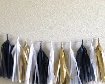 Black and gold Tassle Garland/ Tassel Garland- 6 feet Tissue Paper garland