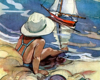 Splendid SAIL Boat!  Vintage Child Illustration. Child At Seashore Digital DOWNLOAD. Printable Image. From FIRST Edition!