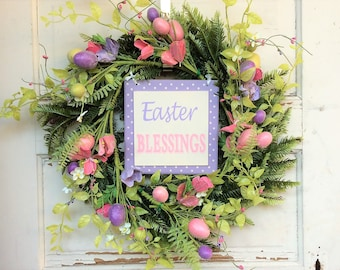 AGD Spring Easter Decor – Pink and Purple Easter Blessings Floral Fern Wreath
