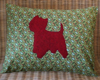 """Christmas Westie Pillow with Red & Green Holly Print and Cranberry Wool Dog, 12"""" x 16"""""""