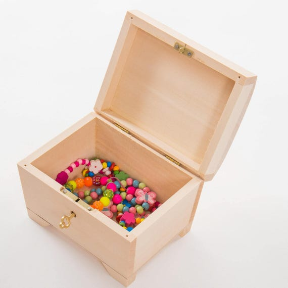 Locking wooden jewellery box Lockable box Trinket box Pine
