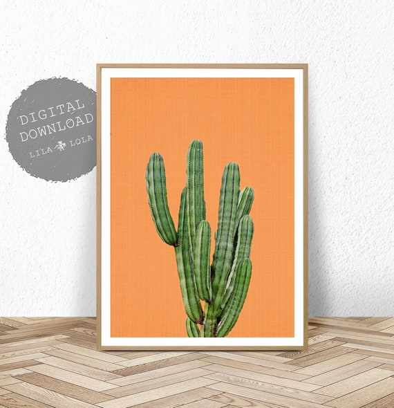 Cactus Print, Printable Wall Art, Digital Download, Mexico Decor, Arizona Poster, Large South Western Poster, Orange Cactus Print