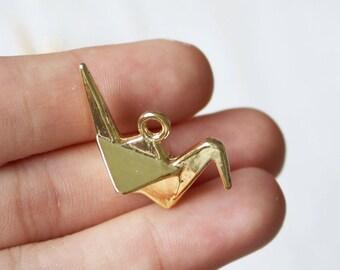 Set of 5, Bright Gold Charm, Origami Bird Charm, Paper Cranes Charm, Gold Crane Charm,