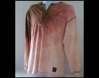 Acid washed medium shirt Graphite Jeanswear long sleeve buttoned collar tee neapolitian ice cream bleached 100% cotton t-shirt (shirt no.49)