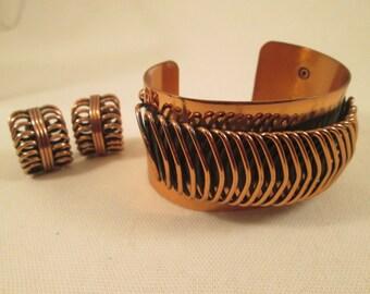 Renoir Copper Cuff Bracelet Earrings /Modernist Renoir Set/Chunky Vintage Spiral Bracelet/Wide Cuff/1950's Designer Jewelry/Mid Century/EUC