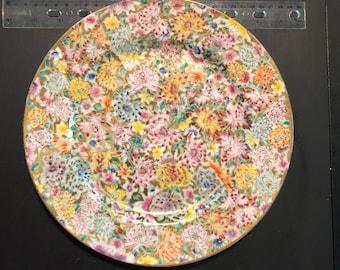 Ceramic multi colored plate crysanthemum pattern