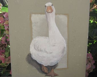 "Painting painting on wood ""Goose"""