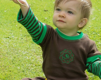 Green and brown striped organic cotton Planet Om jumpsuit
