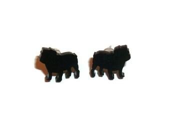 British Bulldog Earrings, Black Cute Kawaii Dog Stud Earrings, Animal Jewelry