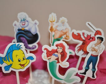The Little Mermaid Ariel Cupcake Toppers Set of 12