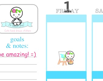 U033 Painter Uteki Sticker Sheet//Painter Planner Stickers//Erin Condren, Happy Planner and All Other Planners, Scrapbooking