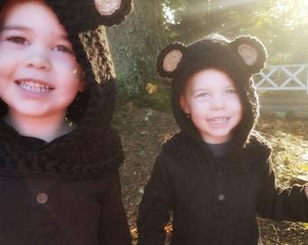 Black Bear Hood: Bear Costume, Toddler Costume, Hooded Scarf, Cowl, Hood Costume, Montessori, Confidence Hoods, Character, Social Skills