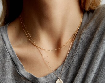 Simple Dainty Layered Necklace Set of 2 • Short and Long Layering Necklaces with Disk Pendant • Layered and Long • LS959