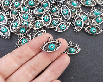 Turquoise Evil Eye Charm Turkish Nazar Greek Eye Luckily Protective Handmade EvilEye Accent - Matte Antique Silver Plated Brass - 2pc