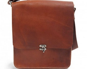 SALE! Hand Stiched Oil Tan Leather Satchel - Black / Brown 30% off original price!