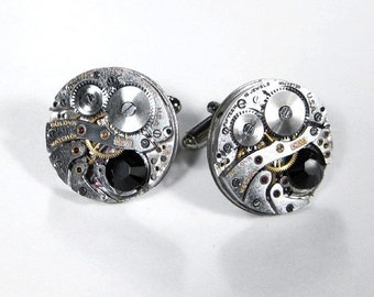 Steampunk Jewelry Cufflinks Mens BULOVA Watch Cuff Links BLACK Swarovski Wedding, Anniversary, Groom, Fiancee Cufflinks Gift - by edmdesigns