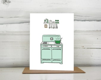 Illustrated vintage stove blank greeting card