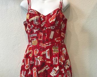 Viva Las Vegas! Red 1950s One Piece Swimsuit with Vegas Print