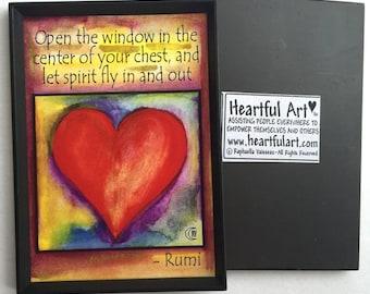 OPEN the WINDOW RUMI Heart Magnet Inspirational Yoga Meditation Breath Spiritual Gift Motivational Print Heartful Art by Raphaella Vaisseau
