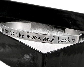 Personalized Cuff / I love you to the moon and back / Aluminum Cuff Bracelet / Hand stamped Jewelry