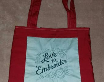 Love to embroider  reversible tote bag handmade embroidered book bag  shopping bag reusable grocery bag craft tote