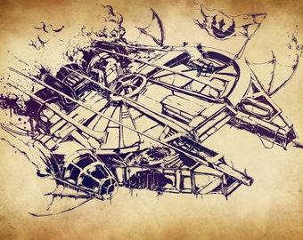 A4 Steam Punk Millennium Falcon Print
