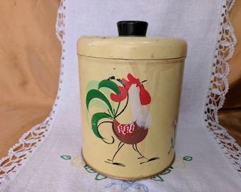 Vintage Ransburg Canister with Lid Rooster & Flowers Hand Painted Yellow *eb