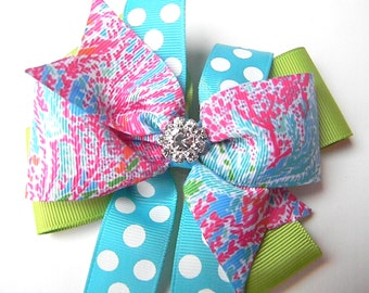 Lilly Hair Bow - Let's Cha Cha Hair Bow - Hot pink turquoise  lime green Hair Bow