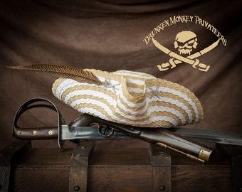 Pirate Tricorn Hat, Straw Hat, Pirate Tricorn, Pirate Hat