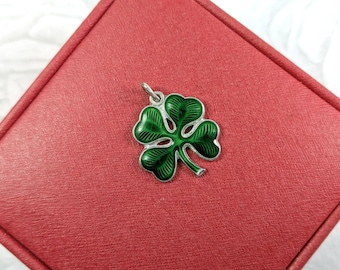 Vintage Four Leaf Clover Charm Saint Patrick's Day Wells Sterling Enamel Luck of the Irish Lucky Charm Pendant Green Clover Charm