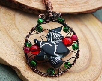 Copper witch necklace