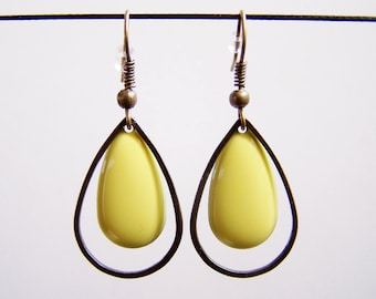 Earrings drop yellow and bronze rings