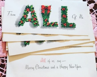 Vintage Christmas Card Holly All of Us
