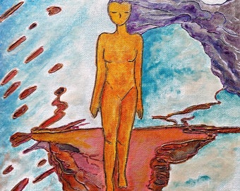 On my earth.Nature painting.Healing art.EARTH.Womanhood.Small painting.Woman art.Wood.Cold colors.Divine feminine art.Gioia Albano.Walking