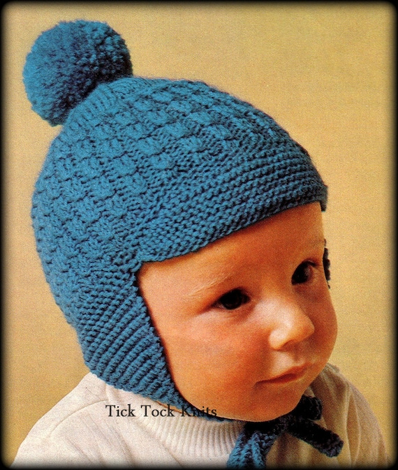 No.350 Baby Hat Knitting Pattern PDF Vintage - Earflap Hat With Brim ...