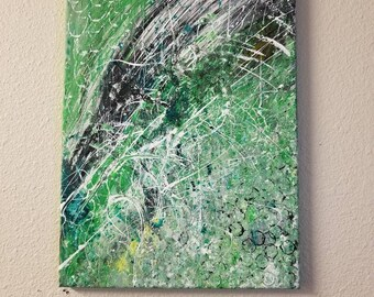 Colorful abstract painting on canvas 12x16 Green, white and black