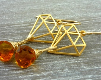 Gold geometric shape and cirtine briolette drop earings