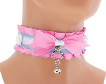 ddlg collar pink Kitten play collar pet play collar BDSM collar choker puppy princess pastel gothic kawaii neko collar fairy kei abdl 1L