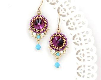 Purple dangle earrings, Fuchsia earrings, Dangle earrings gold, Purple crystal earrings, Gift for wife, Swarovski crystal earrings
