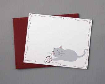 Cat with Yarn A2 Flat Note Cards (Set of 10)