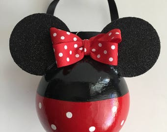 Minnie Mouse Inspired Handpainted Glass Ornament