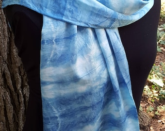 Handmade silk scarf - one of a kind scarf - natural indigo dyed scarf - shibori dyed silk scarf - blue scarf