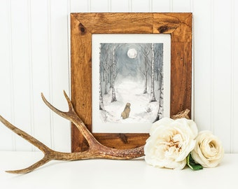 Winter Moon- Archival Quality Mounted and Signed Fine Art Print