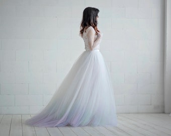 Aurora - wedding dress / tulle and lace wedding dress / long sleeved wedding dress  / ombre dye wedding dress / northern lights dip dye gown