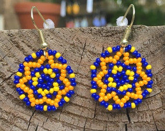 Royal Blue, Yellow and Orange Floral Circles Earring/ Huichol inspired