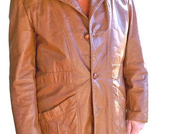 1970s Sears Leather Jacket with Zip-out Liner - Mens 44 Tall