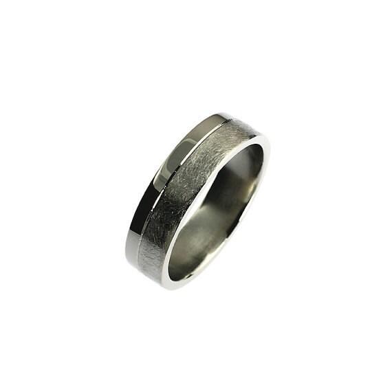 Modern Palladium wedding band wide ring scratched palladium