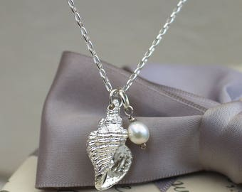 "Silver Conch Shell Necklace with Freshwater pearl and Sterling Silver 18"" chain"