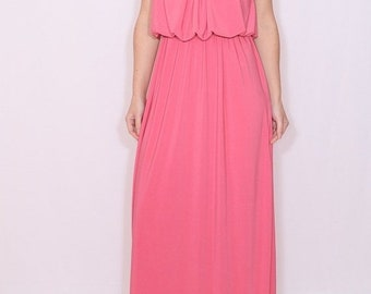 SALE Bridesmaid dress Coral dress for women Long coral pink dress Coral Maxi dress